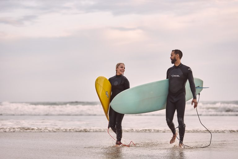 Surfing Couple Woolamai Beach Phillip Island